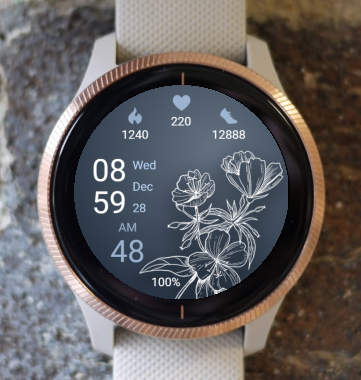 Garmin Watch Face - White Flowers 02