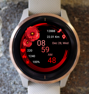 Garmin Watch Face - Poppies 01