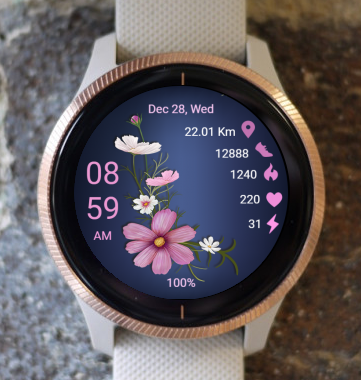 Garmin Watch Face - Pink Flowering