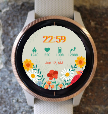 Garmin Watch Face - Bird Flowers G