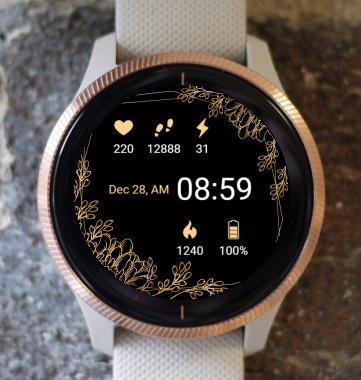 Garmin Watch Face - Golden Floral G