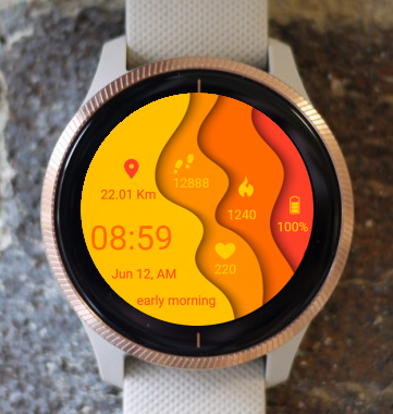 Garmin Watch Face - Yellow Waves
