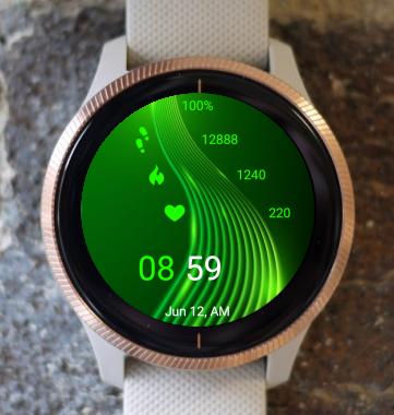 Garmin Watch Face - Green Waves