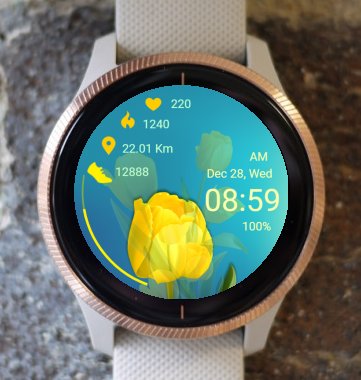 Garmin Watch Face - Yellow Tulip