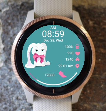 Garmin Watch Face - White Bunny