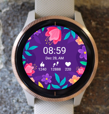 Garmin Watch Face - Night Flower Magic G