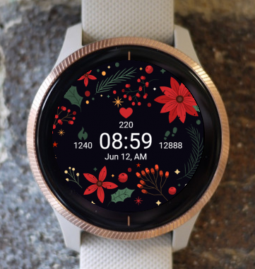 Garmin Watch Face - Christmas Frozen Flowers G