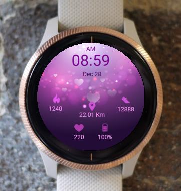 Garmin Watch Face - Purple Hearts