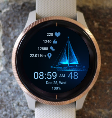 Garmin Watch Face - Blue Sailboat