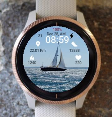 Garmin Watch Face - Sailboat  At Sea