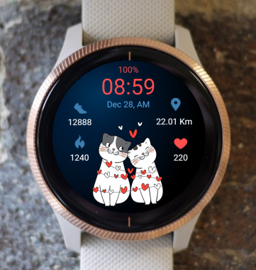 Garmin Watch Face - Valentine Cats