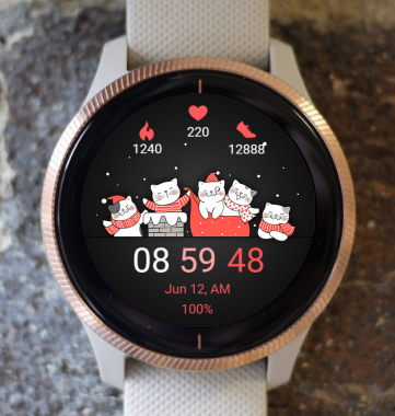 Garmin Watch Face - Christmas Cats 02