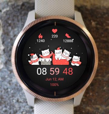 Garmin Watch Face - Christmas Cats 02