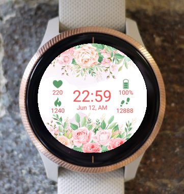 Garmin Watch Face - Pink and Red Flowers G