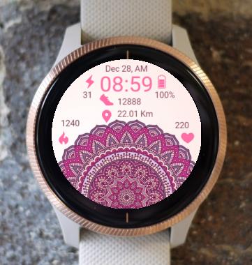 Garmin Watch Face - Pink Mandala
