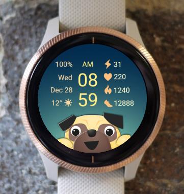 Garmin Watch Face - Dog - Pug 02