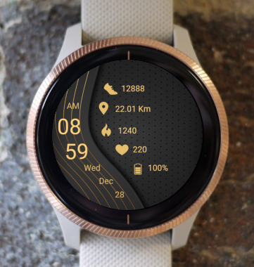 Garmin Watch Face - Dark Gold