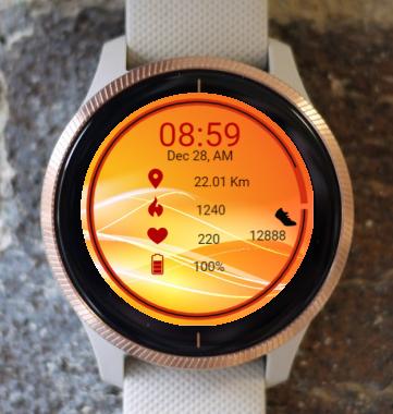Garmin Watch Face - Waves In Orange 1
