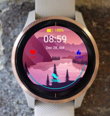 Garmin Watch Face - Spring sunset