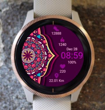 Garmin Watch Face - Mandala In Purple