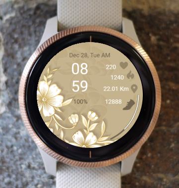 Garmin Watch Face - White Flower