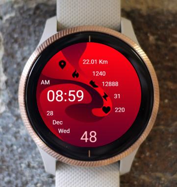 Garmin Watch Face - Red Wave