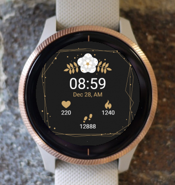 Garmin Watch Face - Black Gold Flower G