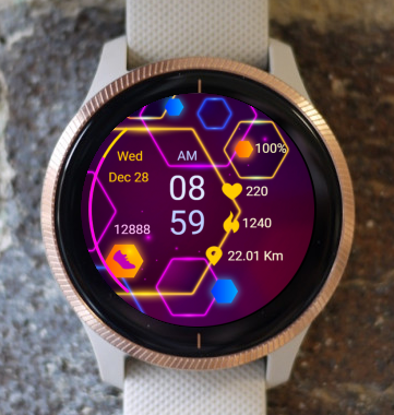 Garmin Watch Face - Colored Hexagons