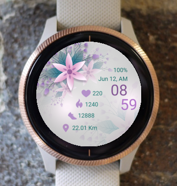 Garmin Watch Face - Pink Flowers 02