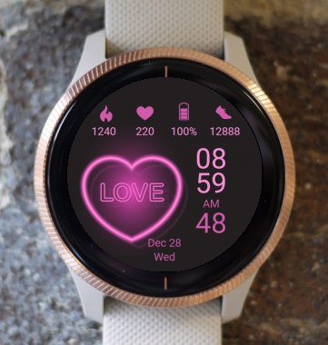 Garmin Watch Face - Neon Love