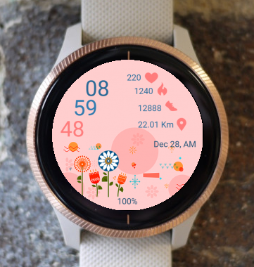 Garmin Watch Face - Flower Drawing