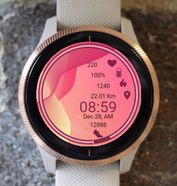 Garmin Watch Face - Waves Pink
