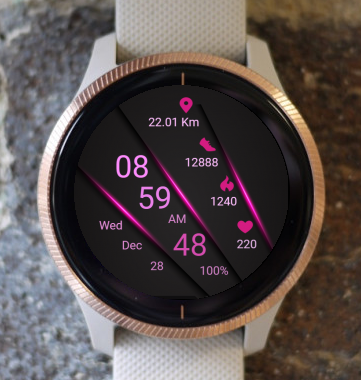 Garmin Watch Face - Pink Borders