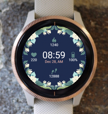 Garmin Watch Face - White Magic Flowers G