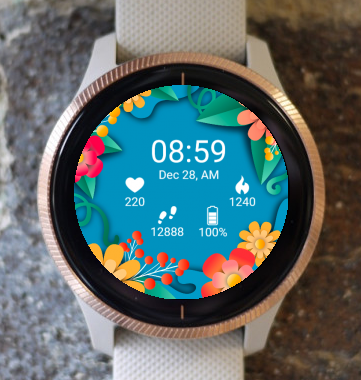 Garmin Watch Face - Neon Flower G