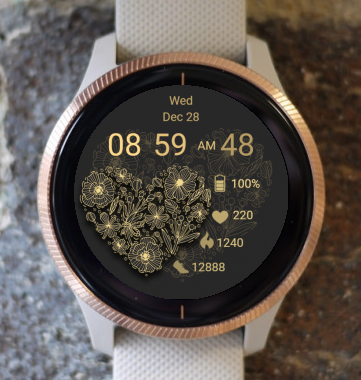 Garmin Watch Face - Gold Heart