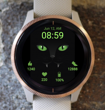Garmin Watch Face - Black Cat
