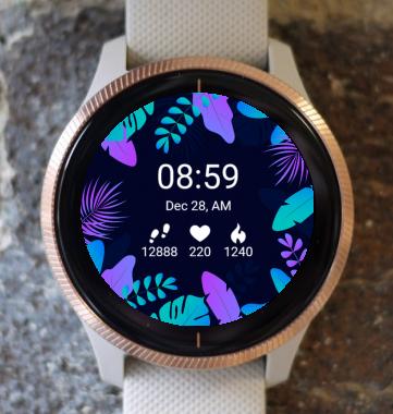 Garmin Watch Face - Neon Leaves G