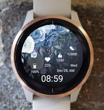 Garmin Watch Face - Blue Bouquet