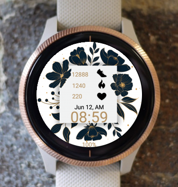 Garmin Watch Face - Black Flowers