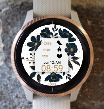 Garmin Watch Face - Black Flowers