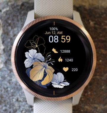 Garmin Watch Face - Gold Flowers