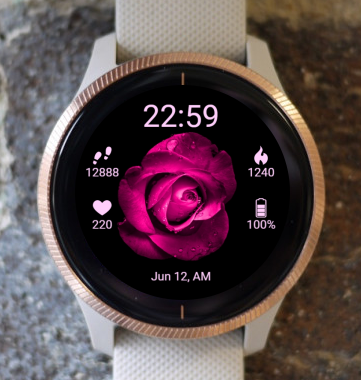 Garmin Watch Face - BW Flower 24