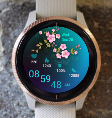 Garmin Watch Face - Pink Flowers 03