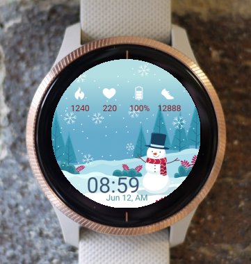Garmin Watch Face - Happy Snowman