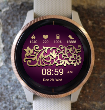 Garmin Watch Face - Gold Flower