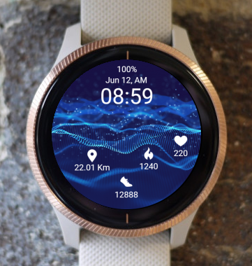 Garmin Watch Face - Blue Waves