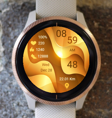 Garmin Watch Face - Gold Wave