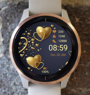 Garmin Watch Face - Golden Hearts