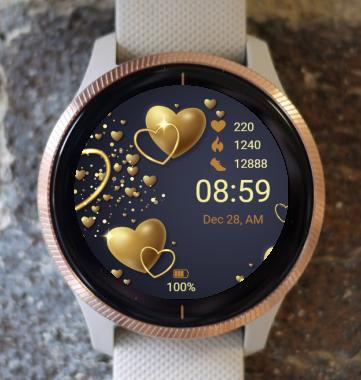 Garmin Watch Face - Golden Hearts
